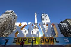 Monument Circle celebrates the Super Bowl in Indianapolis.