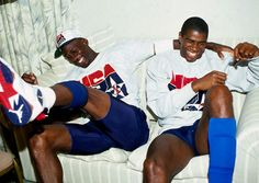 Michael Jordan wearing the Air Jordan 7 Olympic