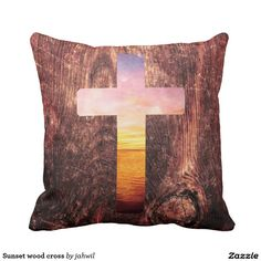 Sunset wood cross throw pillow #sunset #wood #god #cross #spirituality #vintage #landscape #jesus #dream #boho #religion #cute #cool #sea #beautiful #pattern #nautical #crucifix #wooden #religious #beach