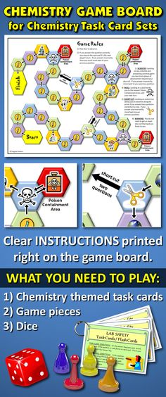 """THIS CHEMISTRY GAME BOARD ADDS VALUE TO ANY CHEMISTRY THEMED TASK CARD SET: If you've got task cards already or are thinking of buying them, getting this one (8.5"""" x 11"""") game board will add value and fun to the task card experience. The rules are printed right out on the board!"""