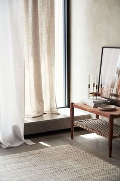 2-pack linen curtain lengths in beige by H&M. Scandinavian interior design. #homedecor #slowliving #minimaldesign #livingroomdesigns #beige