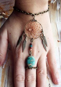 Boho bracelet and ring combo. #boho #fashion