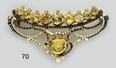 Antique Victorian Zircon, Enamel And Gold Brooch By Guiliano.