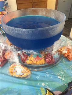 Blue jello and bagged up gold fish. Boy First Birthday, 1st Birthday Parties, Blue Jello, Finding Dory, Cub Scouts, First Birthdays, Party Ideas, Faces, 1st Boy Birthday