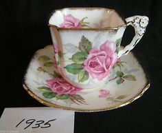 Vintage ROYAL STAFFORD China Cup Saucer BERKLEY ROSE Square Cup Flower Handle