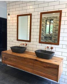 Hardwood timber vanity but with matt black tap ware and white bowl basins Stone Bathroom Sink, Floating Bathroom Vanities, Master Bathroom Vanity, Floating Vanity, Kitchen Cabinets In Bathroom, Wood Bathroom, Bathroom Wall Decor, Bathroom Vanity Lighting, Bathroom Ideas