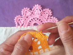 Puntilla de una sola vuelta # 41 - YouTube Crochet Edging Patterns, Crochet Lace Edging, Crochet Borders, Crochet Squares, Crochet Doilies, Crochet Stitches, Crochet Mat, Easy Crochet, Crochet Videos
