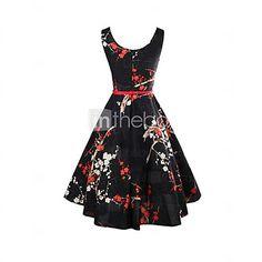 Mulheres Bainha Vestido,Férias Vintage Floral Decote Redondo Altura dos Joelhos Sem Manga Preto Algodão Verão de 2017 por R$57.43