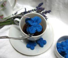 3 Dozen All American Blue Flower Sugar Cubes by WishingwellArt, $8.00