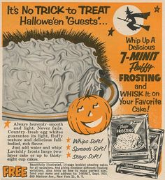 1954 Halloween Fluffy Frosting Ad