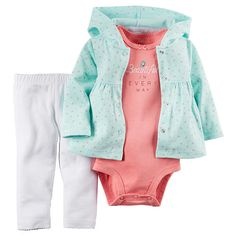 "Carter's Girls 3 Piece Blue Print Hooded Peplum Cardigan, Pink ""Beautiful in Every Way"" Bodysuit and White Legging Set - Carters  - Babies""R""Us"