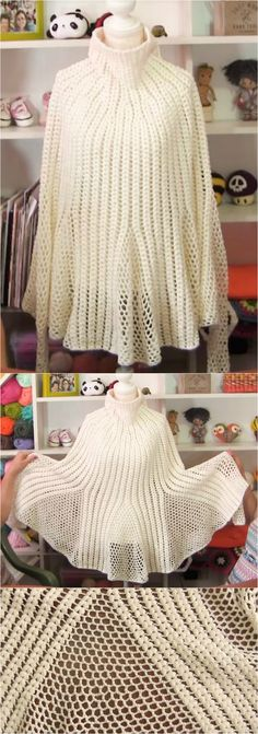 Crochet Tulip Poncho With Long Sleeves