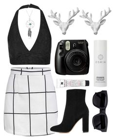 """""""Black And White #2"""" by dindaads2 ❤ liked on Polyvore featuring moda, Topshop, Gianvito Rossi, Acne Studios, Oskia, Wildfox, Kiehl's e Bling Jewelry"""