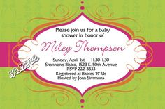 Swirls Pink Baby Shower Invitations  -  Get these invitations RIGHT NOW. Design yourself online, download and print IMMEDIATELY! Or choose my printing services. No software download is required. Free to try!