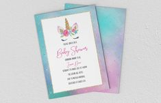 Printable Baby Shower Invite - Invitation - Unicorn Baby Shower Printables, Baby Shower Invitations, Invitation Wording, Invite, Color Profile, Text Color, Wedding Details, Etsy Store, Your Design