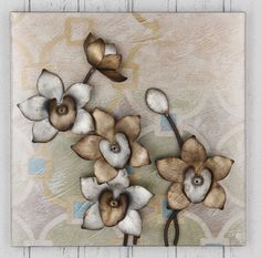 CONTEMPORARY 'FLOWERS PLAQUE' METAL WALL ART