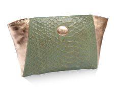 Clutch BamBam green/pink gold leather. – NEU handbags & accessories