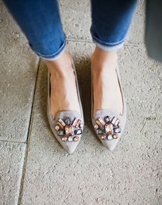 Pointy toes and vintage looking rhinestones these flats will go with everything! #anthrofave