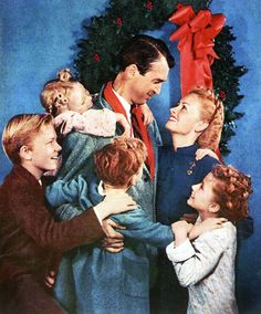 """A colorized version of the Bailey family photo for the film """"It's a Wonderful Life"""" (c/o Jimmy Hawkins Co.) #Christmas"""