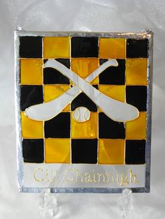 Items similar to Kilkenny GAA hurling window decoration (silver edge) on Etsy Tree Decorations, My Etsy Shop, Windows, Wreaths, Unique Jewelry, Frame, Handmade Gifts, Check, Crafts