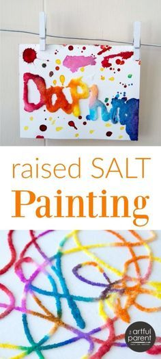 Raised salt painting is an all-time favorite kids art activity that is loved by all ages from toddlers on up. Glue, salt, and watercolors are all you need for this simple art activity, also known as salty watercolors. #artsandcrafts #kidsart #kidscrafts #artforkids #craftsforkids #kidsactivities #preschoolers