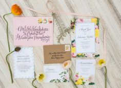 Calligraphy and custom floral invitation suite for a vintage California wedding
