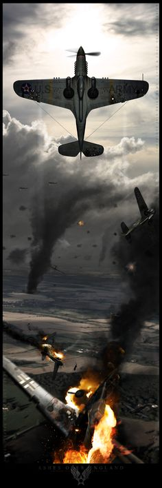Ashes Over England by BrianSamms on deviantART   Okay, this looks cool, but what the heck is going on? There were no American P-40s in the Battle of Britain.