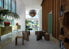 Tisch aus Glas und Metall fasziniert mit architektonischem Look