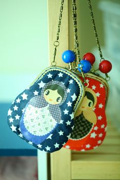 Blue starry candy Russian doll clutch pouch by misala on Etsy
