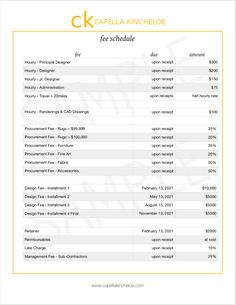 Fee Schedule For Interior Designers