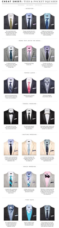 Mens fashion dress shirts Tie & Pocket Square Cheat Sheet // lifted from @J.Crew's website #MensFashionNightOut