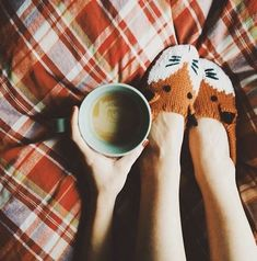 Coffee & slippers!! (: