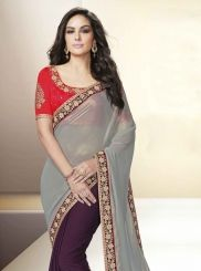 Exquisite Grey and Wine Patch Border Work Faux Chiffon Designer Saree