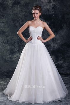 simple ball gown strapless sweetheart corset bodice wedding dress