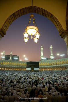 Pilgrims kneel in prayer in the world's largest mosque, Al-Masjid Al-Haram, Mecca, Saudi Arabia Beautiful Mosques, Beautiful Places, Masjid Haram, Mekkah, Asia, Islamic World, Islamic Architecture, Islamic Pictures, Place Of Worship