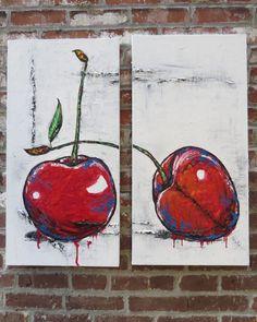 Peinture originale dune nature morte de fruit. Deux cerise! Peinture très coloré et avec beaucoup de texture. Les couleurs prédominantes sont le rouge,