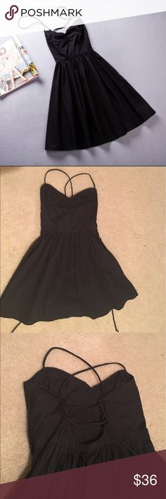 Cute lil black dress Black dress with lace up adjustable back. Front is a sweet heart neckline PLS MAKE OFFERS! :) American Apparel Dresses Mini