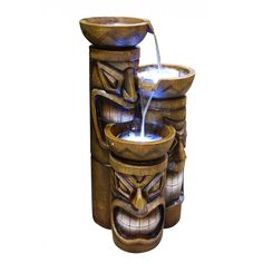 Tiki Fountain With LED Lights