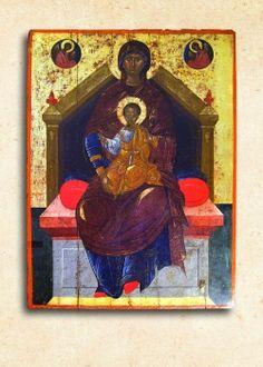 Ἡ Θεοτόκος Ἔνθρονος, 15ος αἰ. Ἐνορία Μαλίων Greek, Icons, Painting, Art, Art Background, Greek Language, Painting Art, Kunst, Paintings