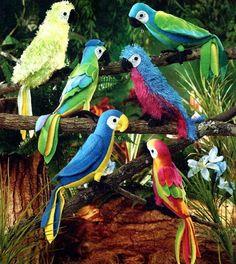 STUFFED BIRD Sewing Pattern - Tropical Birds Parrot & Macaws RARE Oop Mint