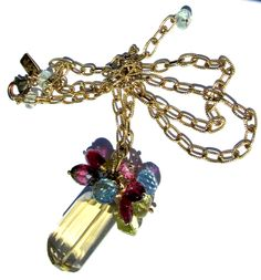 Lemon Quartz Nugget,Pink Tourmaline, Golden Yellow Heliodor Beryl, Blue Topaz And Pink Topaz Necklace
