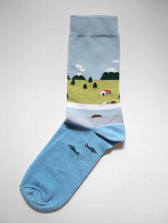 Blue lake house socks by Sock Co. Funky Socks, Crazy Socks, Cute Socks, Awesome Socks, Textiles, Fashion Socks, Mens Fashion, Steampunk Fashion, Gothic Fashion