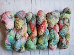 Hand dyed superwash merino wool yarn in shades by sheepishhooker