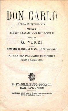 Verdi Opera Don Carlo Poster, 1869