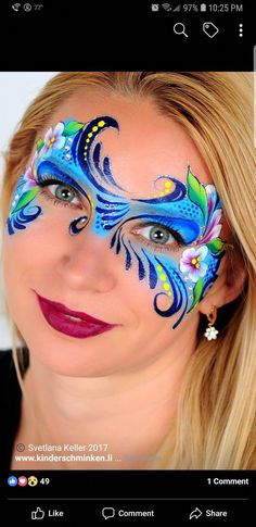 When you think about face painting designs, you probably think about simple kids face painting designs. Many people do not realize that face painting designs go Face Painting Flowers, Girl Face Painting, Mask Painting, Face Painting Designs, Mask Face Paint, Face Paint Makeup, Mime Face, Christmas Face Painting, Maquillage Halloween