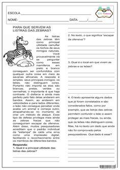 SOS PROFESSOR-ATIVIDADES: Para que servem as listras das zebras? Zebras, Curriculum, Homeschool, Sos Professor, English Activities, Classroom, Teaching, Comprehension Activities, Creative Activities