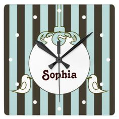 Cute White Doves Stripes Personalized Name Wall Clocks for Kids - Baby Shower, Birthday, or Christmas Gift Idea