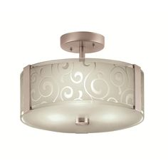 Shop Portfolio 13-in W Brushed Steel Frosted Glass Semi-Flush Mount Ceiling Light at Lowes.com SCJ - really like this for hall lights.