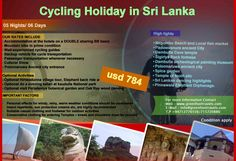 Spice Cycling Holiday in Sri Lanka  DURATION : 05 Nights/06 Days Cost – USD 784 Book Now Email – info@cyclinglanka.com Web – www.cyclinglanka.com Phone:- +9471 – 5720880/+9471 - 2776556  OUR RATES INCLUDE  Accommodation at the hotels on a DOUBLE sharing BB basis  Mountain bike in prime condition  Well-experienced cycling guides  Backup vehicle for cycle transportation  Passenger transportation whenever necessary  Spice Tour  Cookery Demonstration  Cultural Show  • Polonnaruwa Ancient…