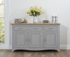 Buy the Parisian Grey Shabby Chic Sideboard at Oak Furniture Superstore